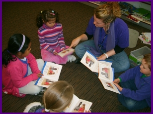 The teacher begins the guided reading with a orientation to the book